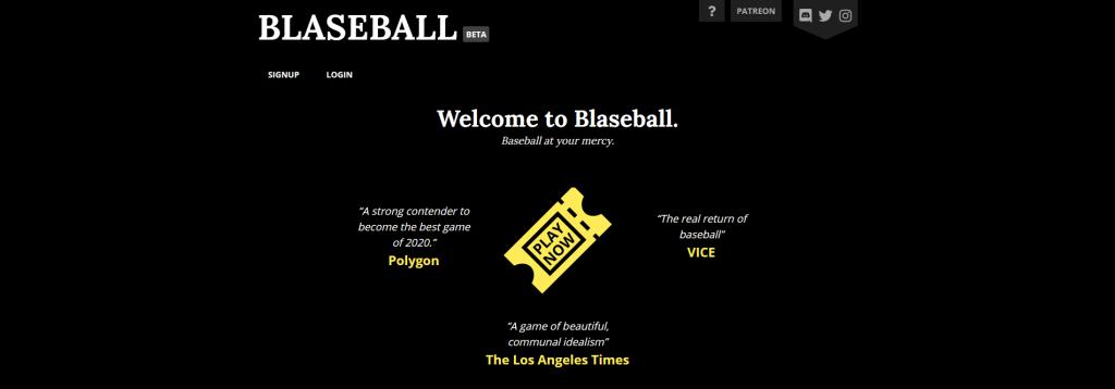 Blaseball Login Page